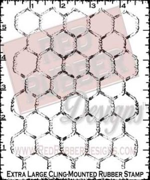 Chicken Wire Background Extra Large Cling Mount Rubber Stamp