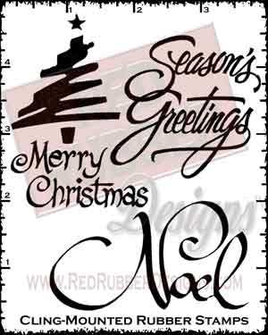 Noel Cling Mounted Rubber Stamps from Red Rubber Designs