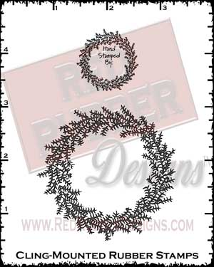 Holiday Wreath Cling Mount Rubber Stamp Set from Red Rubber Designs