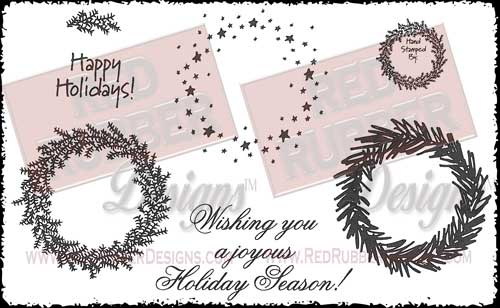 Holiday Wreath Unmounted Rubber Stamps from Red Rubber Designs