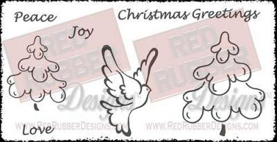Brushed Christmas Unmounted Rubber Stamps from Red Rubber Designs