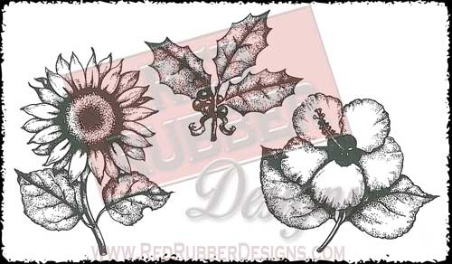 Flowers and Holly Unmounted Rubber Stamps from Red Rubber Designs