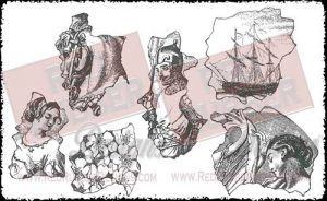 Vintage Collage Unmounted Rubber Stamps from Red Rubber Designs