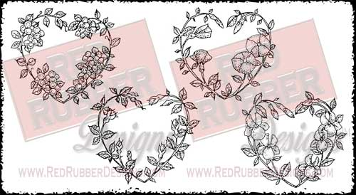 Floral Hearts Unmounted Rubber Stamps from Red Rubber Designs