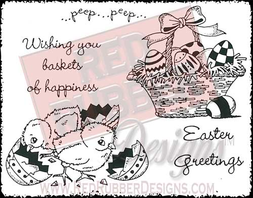 Basket Of Happiness Unmounted Rubber Stamps from Red Rubber Designs