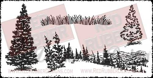 Mountain Scenery Unmounted Rubber Stamps from Red Rubber Designs