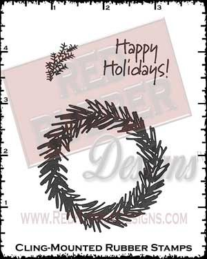 Pine Wreath Cling Mount Rubber Stamps from Red Rubber Designs