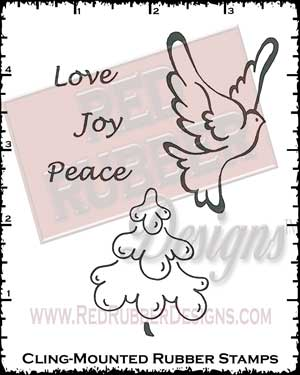 Love Joy Peace Cling Mounted Rubber Stamps from Red Rubber Designs