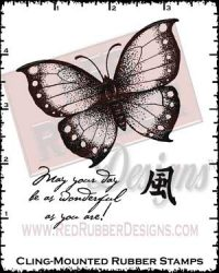 Asian Butterfly Cling Mounted Rubber Stamps from Red Rubber Designs