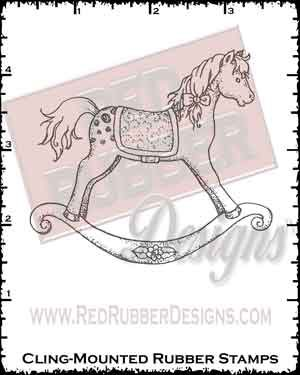 Rocking Horse Cling Mounted Rubber Stamp from Red Rubber Designs
