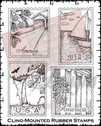 Americana Stamps Cling Mounted Rubber Stamps from Red Rubber Designs