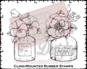 Floral Perfumes Cling Mounted Rubber Stamps from Red Rubber Designs