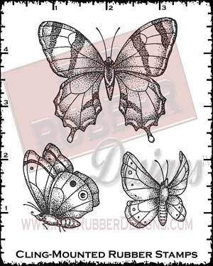 Beautiful Butterflies Cling Mounted Rubber Stamps from Red Rubber Designs