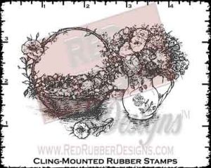 Basket Bouquet Cling Mounted Rubber Stamp from Red Rubber Designs