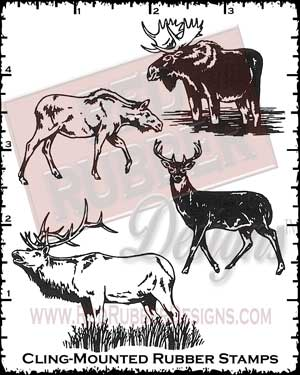 Moose Cling Mounted Rubber Stamps from Red Rubber Designs
