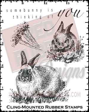Somebunnys Thinking Cling Mounted Rubber Stamps from Red Rubber Designs