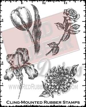 Charcoal Flowers Cling Mounted Rubber Stamps from Red Rubber Designs