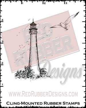 Lighthouse and Seagull Cling Mounted Rubber Stamps from Red Rubber Designs