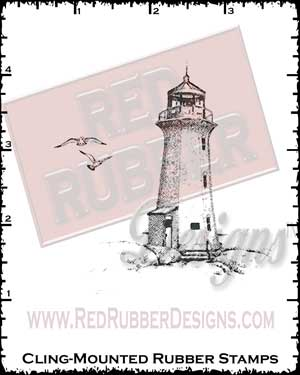 Lighthouse and Birds Cling Mounted Rubber Stamps from Red Rubber Designs