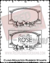 Rose Wine Labels Cling Mounted Rubber Stamps from Red Rubber Designs