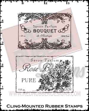 Bouquet Wine Labels Cling Mounted Rubber Stamps from Red Rubber Designs