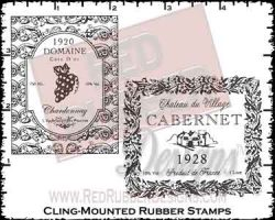 Wine Labels Cling Mounted Rubber Stamps from Red Rubber Designs