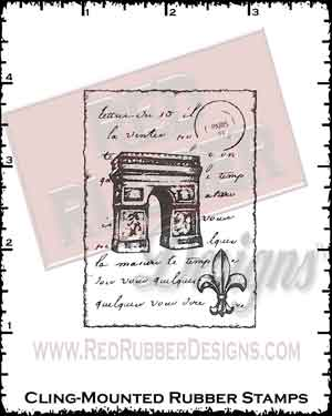 Triomphe Collage Cling Mounted Rubber Stamp from Red Rubber Designs