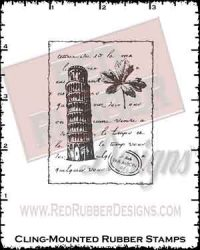 Tower of Pisa Cling Mounted Rubber Stamp from Red Rubber Designs
