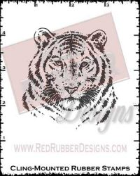Tiger Face Cling Mounted Rubber Stamp from Red Rubber Designs