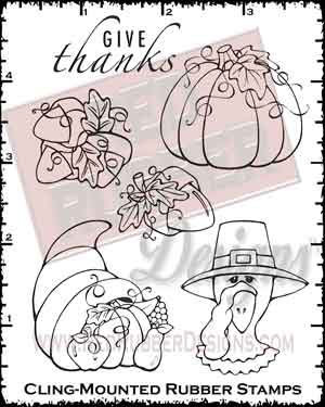 Give Thanks Cling Mounted Rubber Stamps from Red Rubber Designs