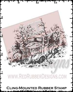 Old Truck Cling Mounted Rubber Stamp from Red Rubber Designs
