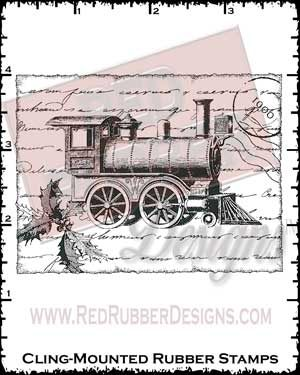 Train Collage Cling Mounted Rubber Stamp from Red Rubber Designs