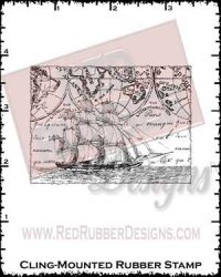 Ship Collage Cling Mounted Rubber Stamp from Red Rubber Designs