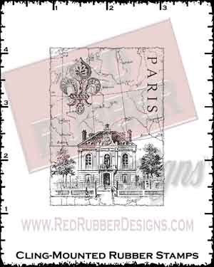 Paris Collage Cling Mounted Rubber Stamp from Red Rubber Designs