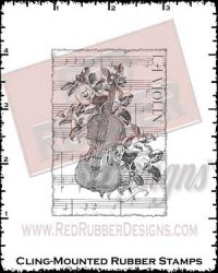 Violin Collage Cling Mounted Rubber Stamp from Red Rubber Designs