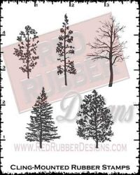 Tree Silhouettes Cling Mounted Rubber Stamps from Red Rubber Designs