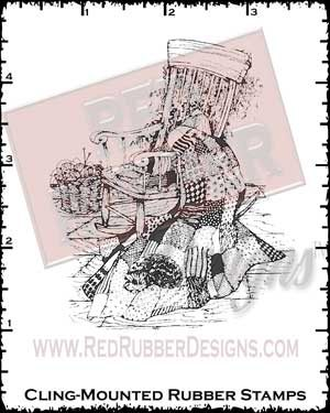 Rocking Chair Cling Mounted Rubber Stamp from Red Rubber Designs