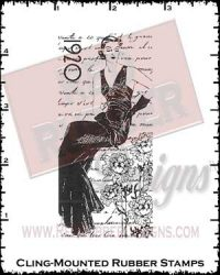 1920s Collage Cling Mounted Rubber Stamp from Red Rubber Designs