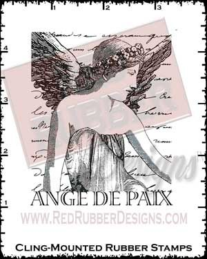 Angel Of Peace Cling Mounted Rubber Stamp from Red Rubber Designs