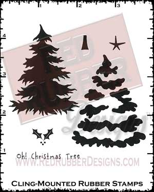 Oh Christmas Tree Cling Mounted Rubber Stamps from Red Rubber Designs