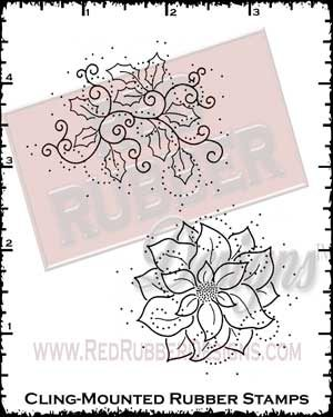 Holly Season Cling Mounted Rubber Stamps from Red Rubber Designs