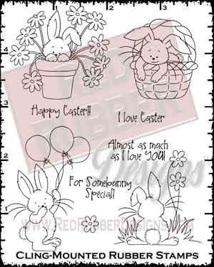 I Love Easter Cling Mounted Rubber Stamps from Red Rubber Designs