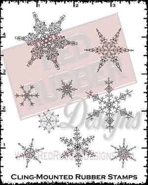 Ornamental Snowflakes Cling Mounted Rubber Stamps from Red Rubber Designs