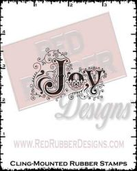 Ornamental Joy Cling Mounted Rubber Stamp from Red Rubber Designs