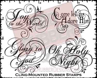 Flourished Tidings Cling Mounted Rubber Stamps from Red Rubber Designs