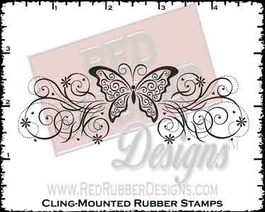 Butterfly Swirls Cling Mounted Rubber Stamps from Red Rubber Designs