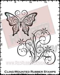 Butterfly Flourish Cling Mounted Rubber Stamps from Red Rubber Designs