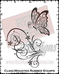 Butterfly Curls Cling Mounted Rubber Stamps from Red Rubber Designs
