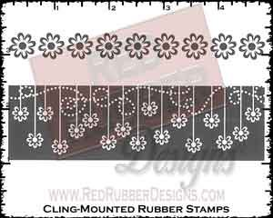 Flower Strips Cling Mounted Rubber Stamps from Red Rubber Designs