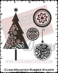 Ornamental Christmas Tree Cling Mounted Rubber Stamps from Red Rubber Designs